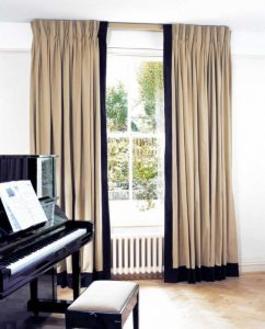pinch pleat curtains with border